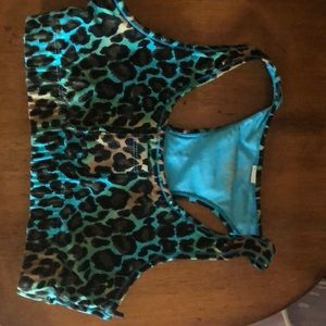 Other - Sports bra- blue leopard/ sequin- small